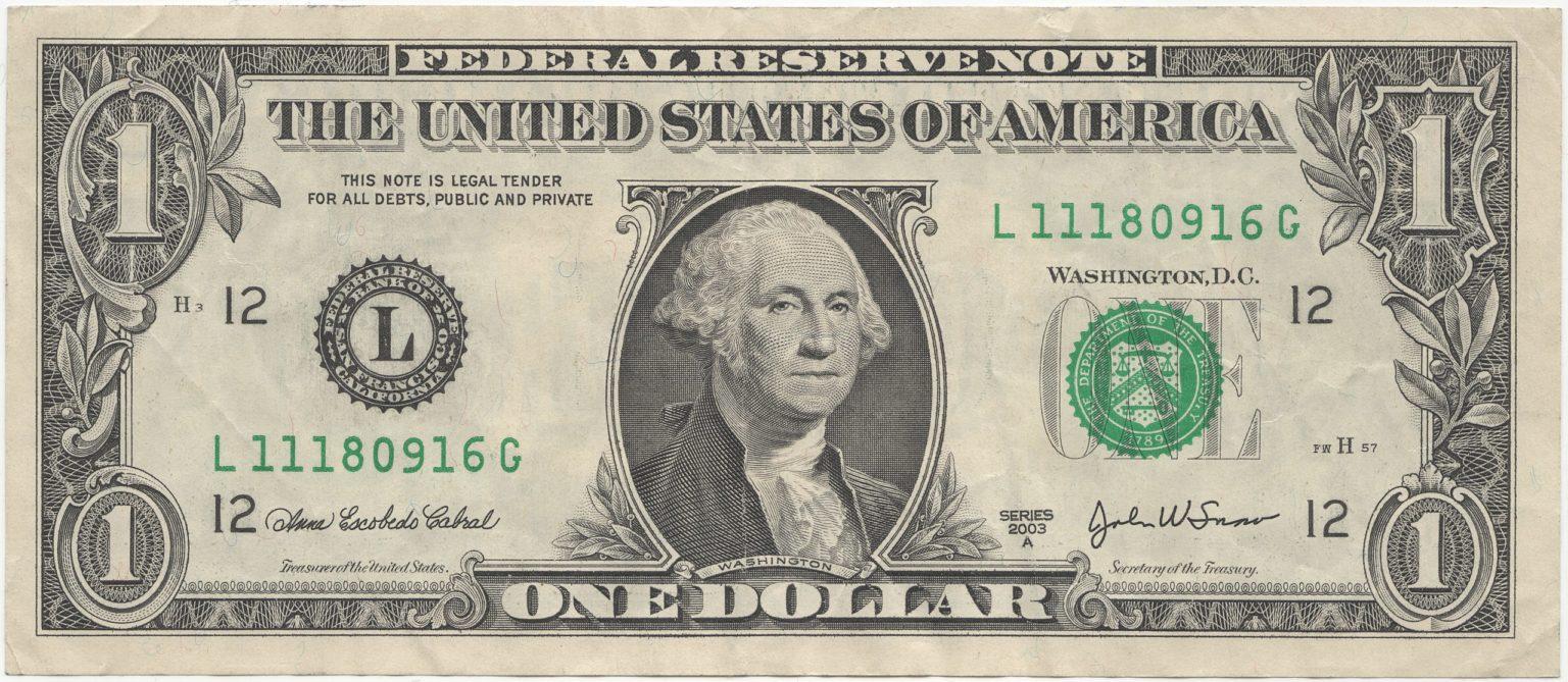 米1ドル札紙幣の肖像画 ジョージ・ワシントンのご紹介