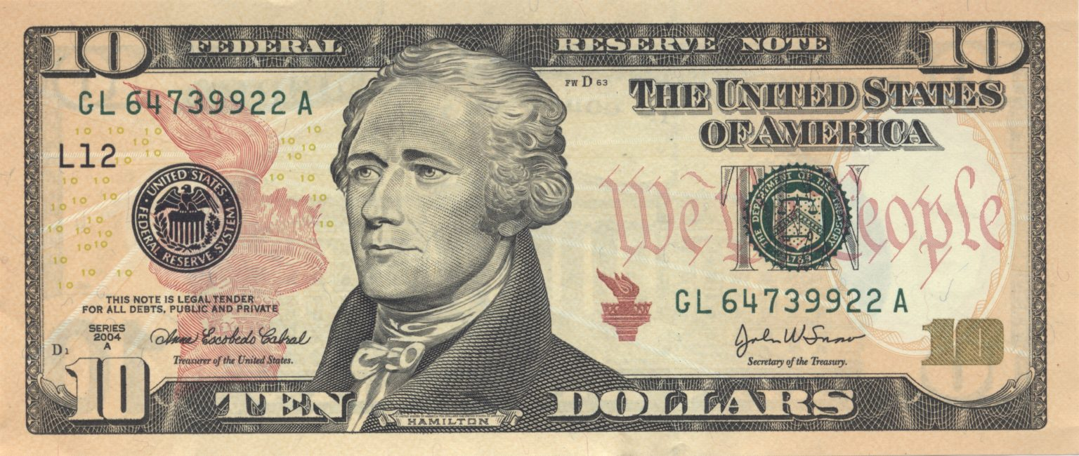 米10ドル札紙幣の肖像画 アレクサンダー・ハミルトンのご紹介