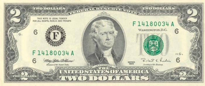 米2ドル札紙幣の肖像画 トーマス・ジェファーソンのご紹介