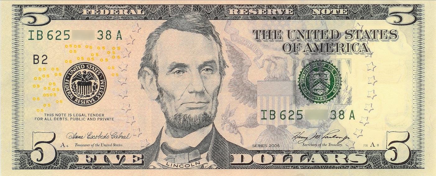 米5ドル札紙幣の肖像画 エイブラハム・リンカーンのご紹介